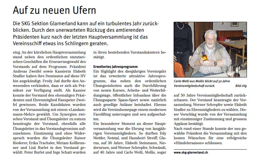 Zeitungsbericht HV 2015