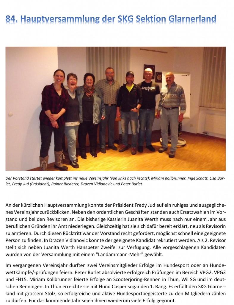 84. Hauptversammlung SKG Glarnerland